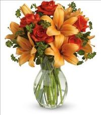 Fiery Lily and Rose by US Teleflorist .com- Associated with other USA Teleflorists