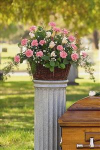 Basket with Pink Flowers by US Teleflorist .com- Associated with other USA Teleflorists