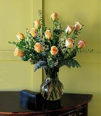 Dozen Pale Peach Roses by US Teleflorist .com- Associated with other USA Teleflorists