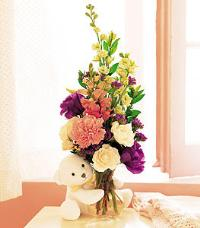 Bear Hug with Flowers by US Teleflorist .com- Associated with other USA Teleflorists
