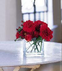 Cube with Red Blooms by US Teleflorist .com- Associated with other USA Teleflorists
