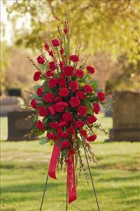 All-Red Standing Spray by US Teleflorist .com- Associated with other USA Teleflorists