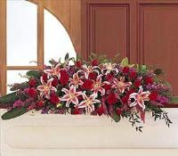 Amethyst And Ruby Casket Spray by US Teleflorist .com- Associated with other USA Teleflorists